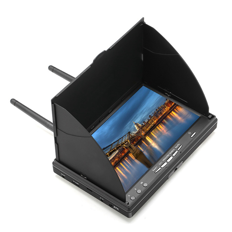 Rechargeable LCD 7'' 40CH 5.8G FPV Dual Receiver Monitor with DVR Function
