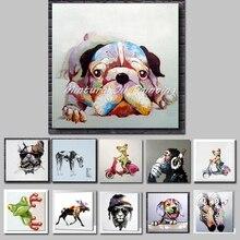 Mintura Art Ручная роспись акриловый холст масло картины красочная собака Современный абстрактный животное стены Искусство Детская комната Декор без рамки