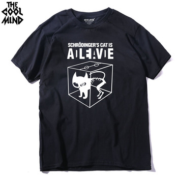 COOLMIND CA0212A short sleeve schrodinger cat men tshirt casual 100% cotton print mens t shirts cool summer men's tee shirts