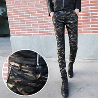 New 2017 fashion camouflage leather men pants military style skinny pants men calca masculina men's trousers clothing /PK9