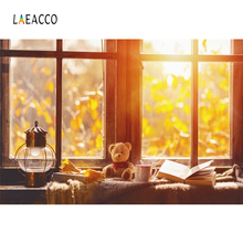 Laeacco秋テディベア窓敷居ライトテーブルボケ朝子インテリア写真の背景背景photocall写真スタジオ