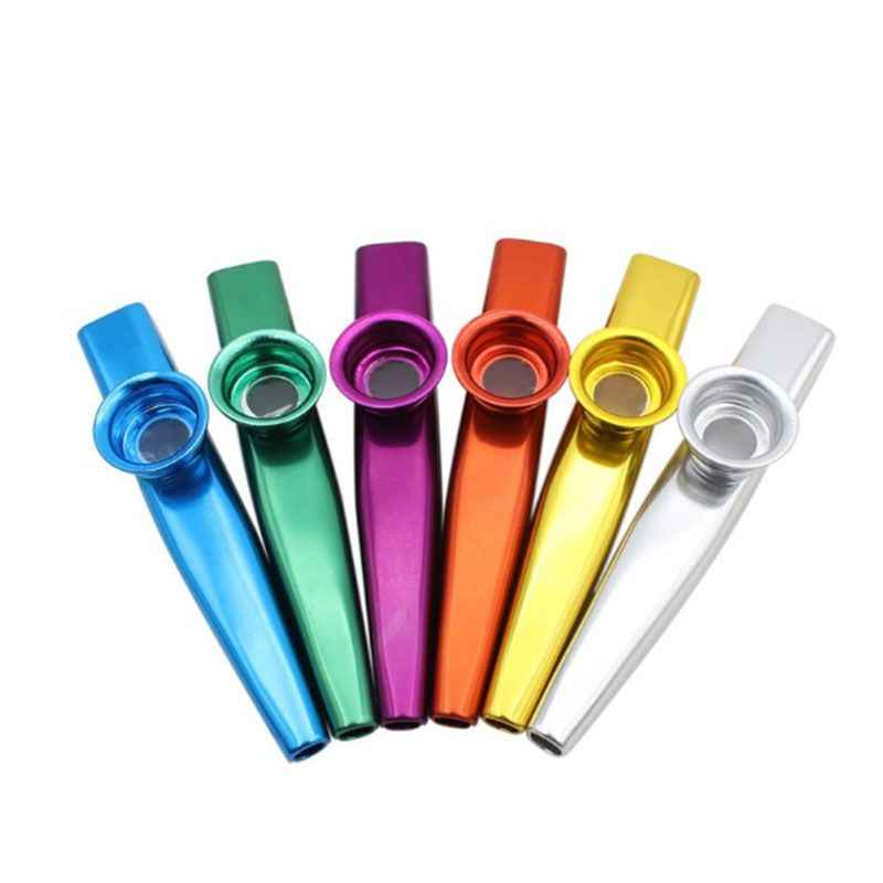 6 Pcs/Set 6 Colors Metal Kazoo Musical Instruments Good Companion A Guitar Ukulele Great Gift For Kids Music Lovers