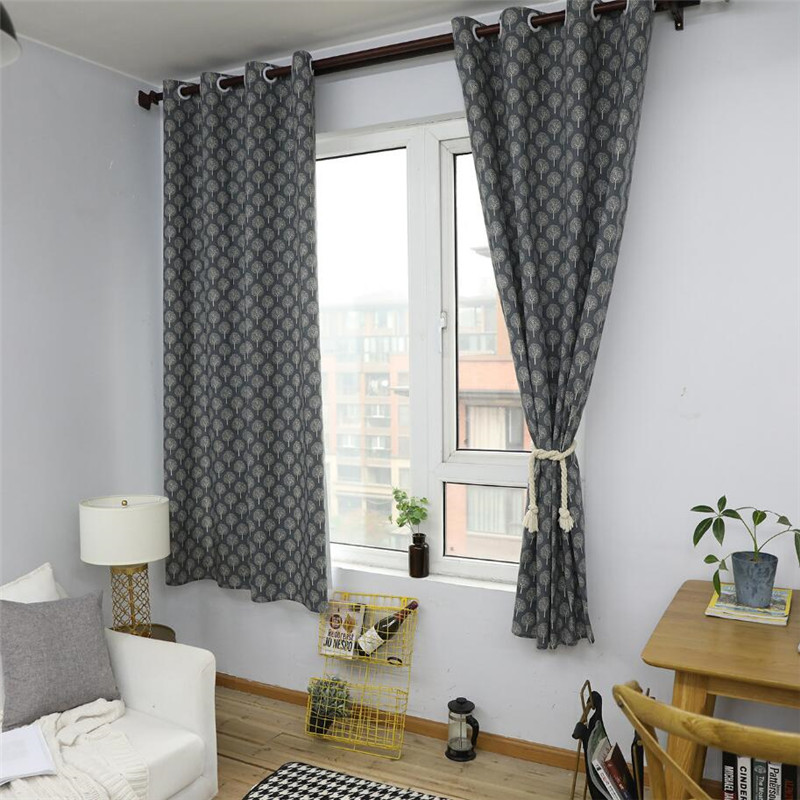 Small Tree Nordic Style Linen Cotton Blackout Curtains For