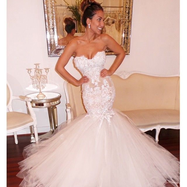 Best Ing Strapless Mermaid Wedding Dress Lace Bodice Tulle Skirt Sweetheart Gown