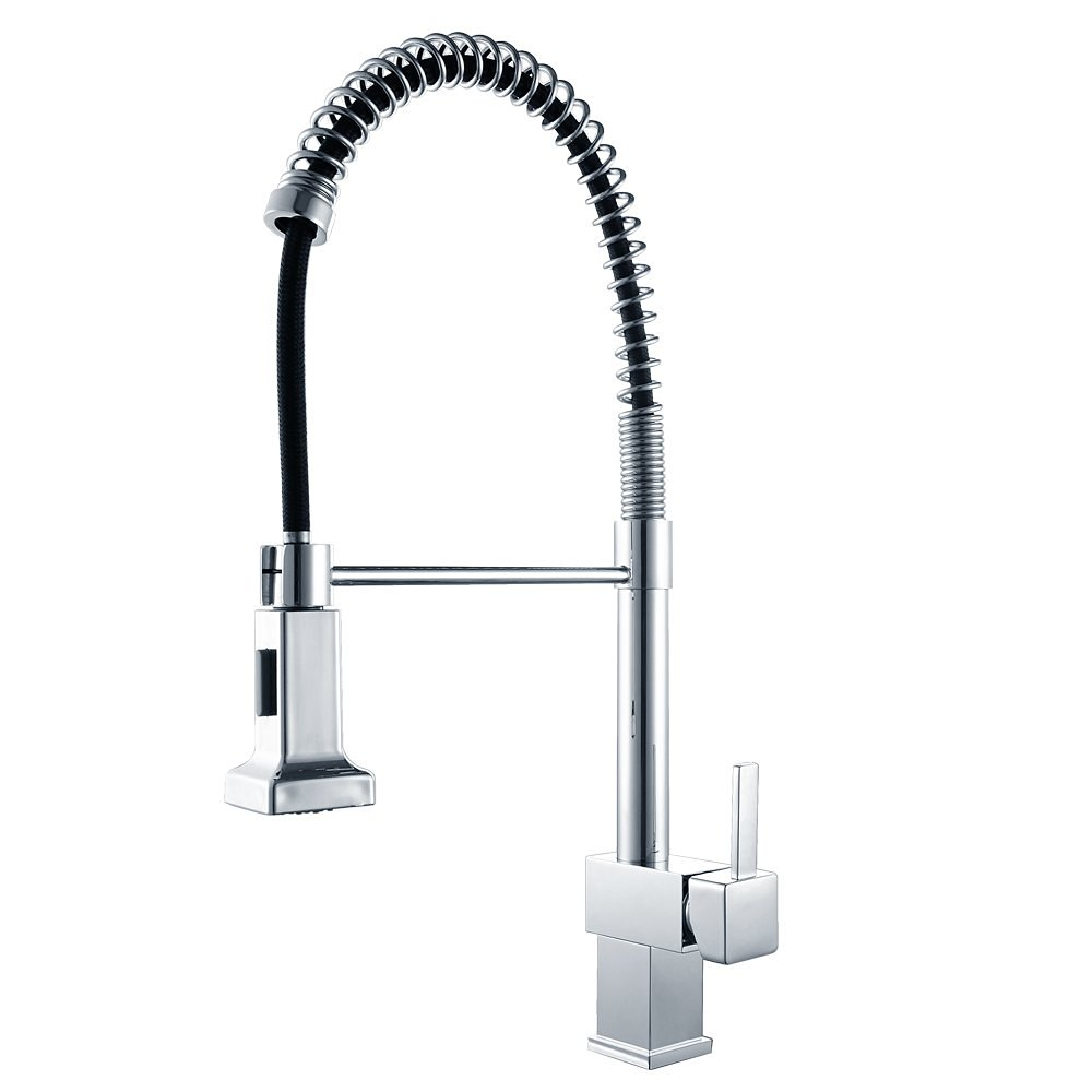 Polished Chrome Solid BRASS Single Lever Pull Down Pre rinse Spring Kitchen Faucet with Swivel Spout