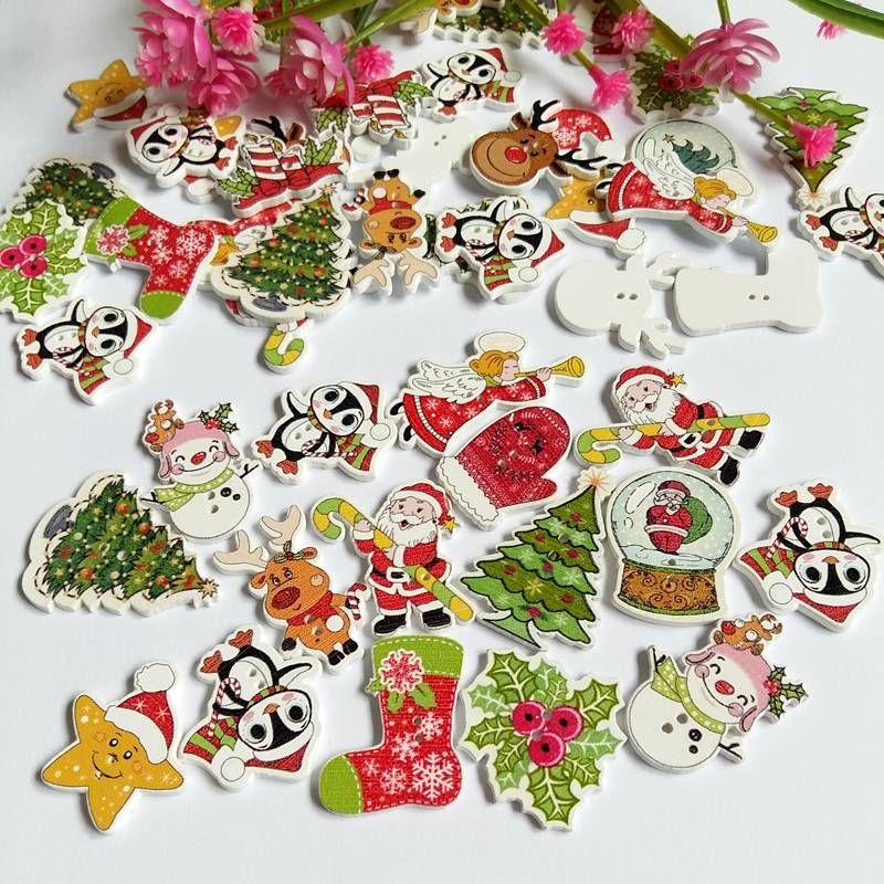 20 or 50pcs/pack Mix Christmas Decorative Wooden Buttons 2 Holes Handmade Scrapbooking For craft Supplies Sewing Accessories