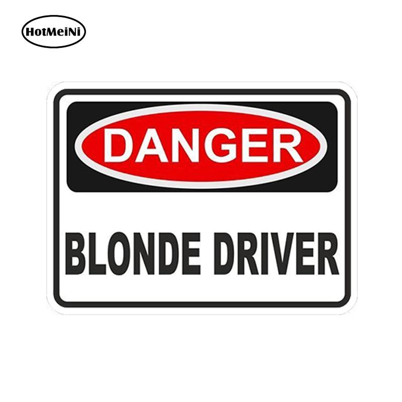 HotMeiNi Car Styling Car Sticker DANGER BLONDE DRIVER WARNING FUNNY VINYL STICKER NEWr Waterproof Accessories 13cm x 9.75cm