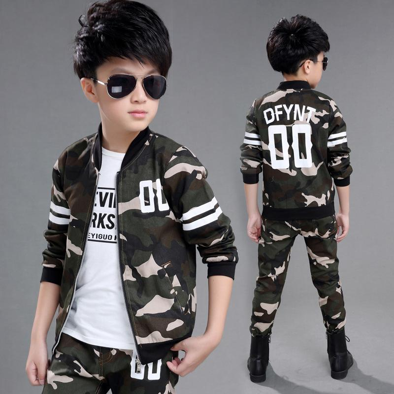 4-15 Years Boys Sport Suits 2017 Autumn New Camouflage Style Children's Tracksuit for Boys Coat Pants 2pcs Spring Kids Clothes 2017 new boys clothing set camouflage 3 9t boy sports suits kids clothes suit cotton boys tracksuit teenage costume long sleeve