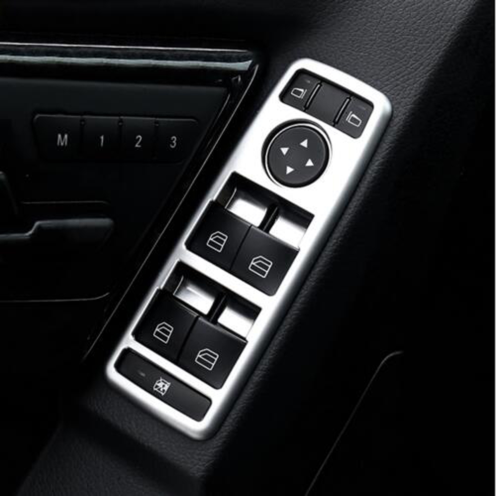 car interior matt chrome door window switch panel cover trim for mercedes benz a b c e glk class. Black Bedroom Furniture Sets. Home Design Ideas