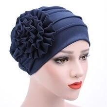 Cap Titmsny Hast Senhoras Grande Flor Turbante Muçulmano Caps Adulto Moda Mulheres Flor Plissado Cabeça Envoltório Quimio Gorro Casuais