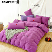 hot deal buy comfeel simple cotton bedding set solid color 4pcs quilt cover bedsheet with pillowcases kids comforter bedding sets bedclothes