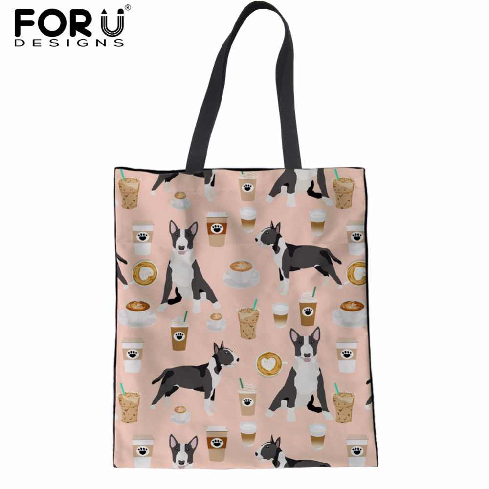 a28dc290953c Detail Feedback Questions about FORUDESIGNS Handbags Women Cute Bull Terrier   Boston Terer Prints Female Casual Tote Bags Cotton Shopper Shoulder Bags  for ...