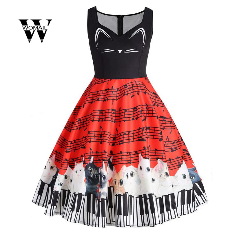 2018 New Fashion Womens Cat Musical Note Printing Sleeveless Party Dress Vintage Lace Dress Plus size Amazing hot sale Jan 5