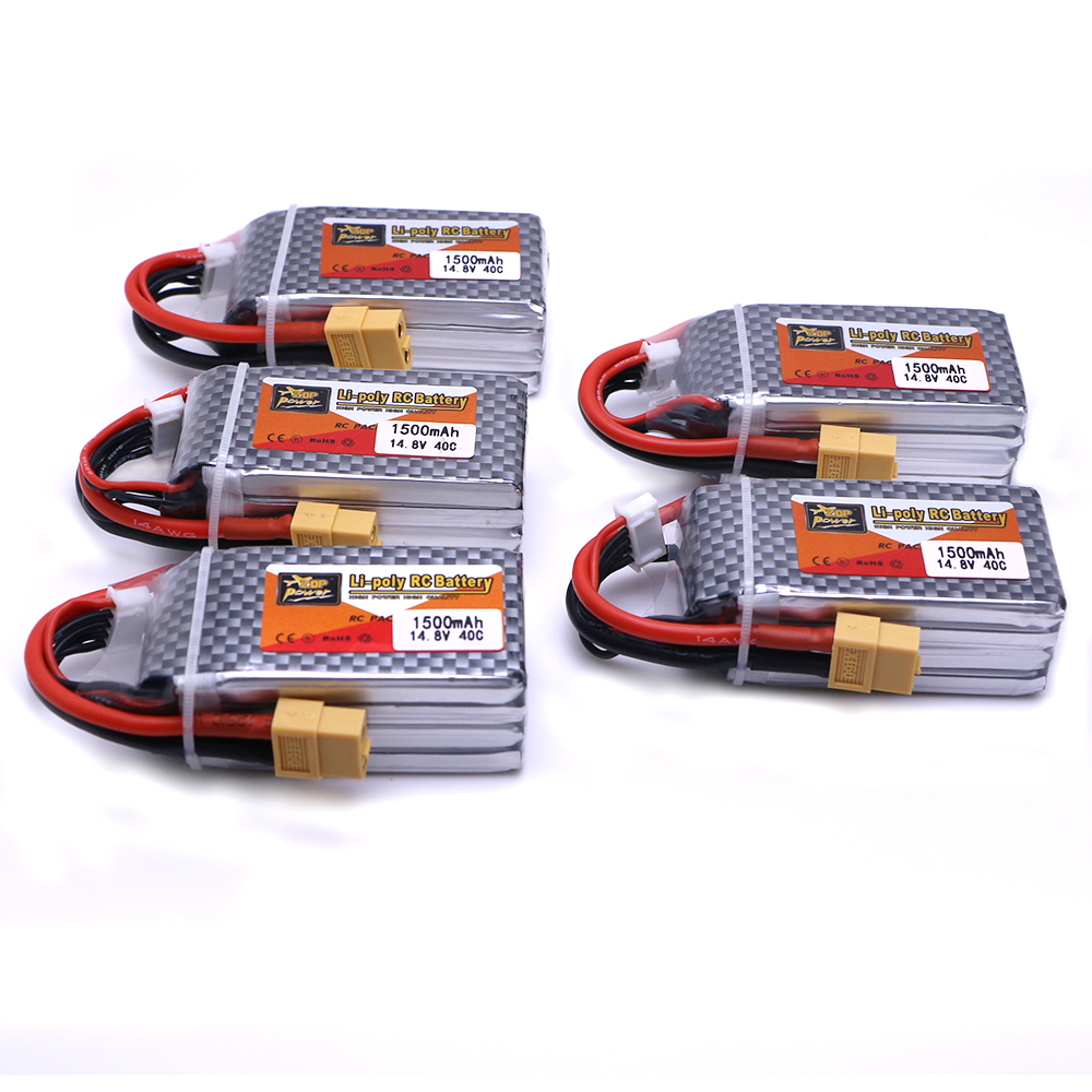 5pcs ZOP Power 14.8V 1500mAh 4S 40C Lipo Battery XT60 Plug Battery For RC Helicopter Qudcopter Drone Truck Car Boat parts zop lipo battery 11 1v 2200mah 3s 30c max 35c xt60 t plug for rc helicopter qudcopter drone truck car boat