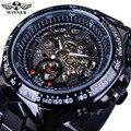 Horloge vencedor Mostrador Preto de Aço Inoxidável Relógios Homens Marca De Luxo Automático Esqueleto Relógio Estilo Esporte Relógio Dos Homens Relógio Militar