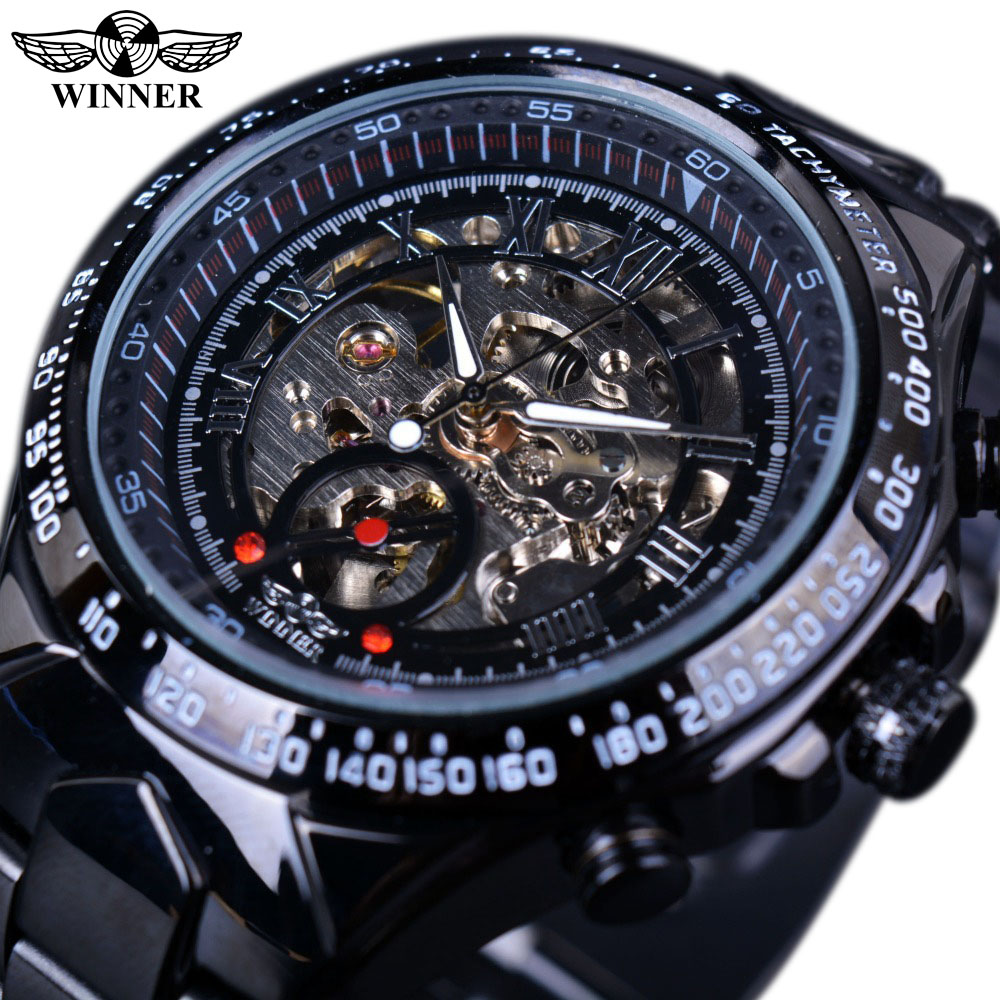 Winner Black Dial Stainless Steel Horloge Watches Men Luxury Brand Automatic Skeleton Sport Style Watch Clock Men Military Watch winner men fashion cool black automatic mechanical watch rubber strap skeleton dial automatic dial design sport style wristwatch