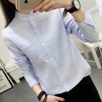 Women Blouses Shirt Female Cotton Linen 2017 New Spring Autumn Stripe Long Sleeve Shirts Women Tops