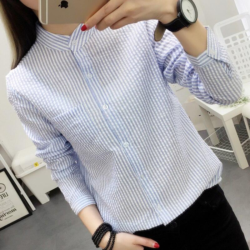 Blusas de las mujeres camisa femenina raya de lino del algodón 2017 nueva primav
