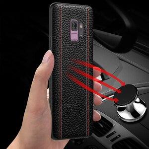 Image 5 - Echtes Leder Luxus Fall Für Samsung HINWEIS 9, HINWEIS 8, S9 Plus, s8 Plus Rindsleder Volle Schutzhülle Unterstützung adsorption magnet