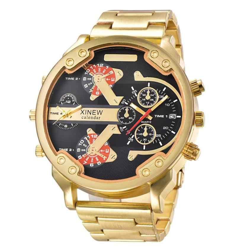 76bcb5d6733 Oversized Watches Men Dual Time Luxury Big Face Quartz Watch Brand Original  Wrist Clock Relogio Masculino