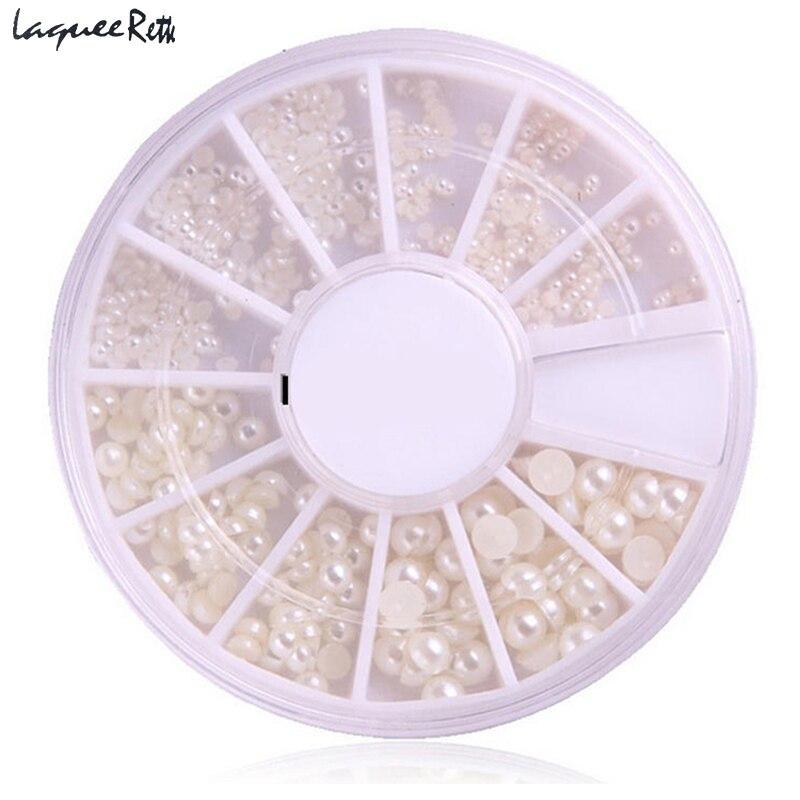 Kit de Unhas de Acrílico 3D Branco Pedrinhas Dicas Nail Art Pérola Gem Glitter Manicure DIY Decoração Roda Holográfica