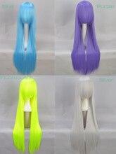 Recta Larga 100 Cm Diy Cosplay Partido peluca de la Manera Sintética Peluca de Plata Azul Púrpura Fluorescente Barato amina peluca envío gratis