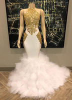 Gorgeous Halter Gold and White Prom Dresses Ruffles Tulle Real Pictures Mermaid Formal Party Dresses Evening Gowns