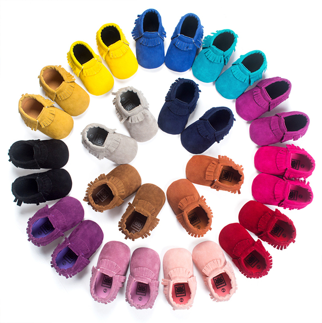 13colors New Suede Pu Leather Newborn Baby Infant Toddler Moccasins  Soft Fringe Moccs Bebe Soft Soled Anti-slip Prewalker Shoes