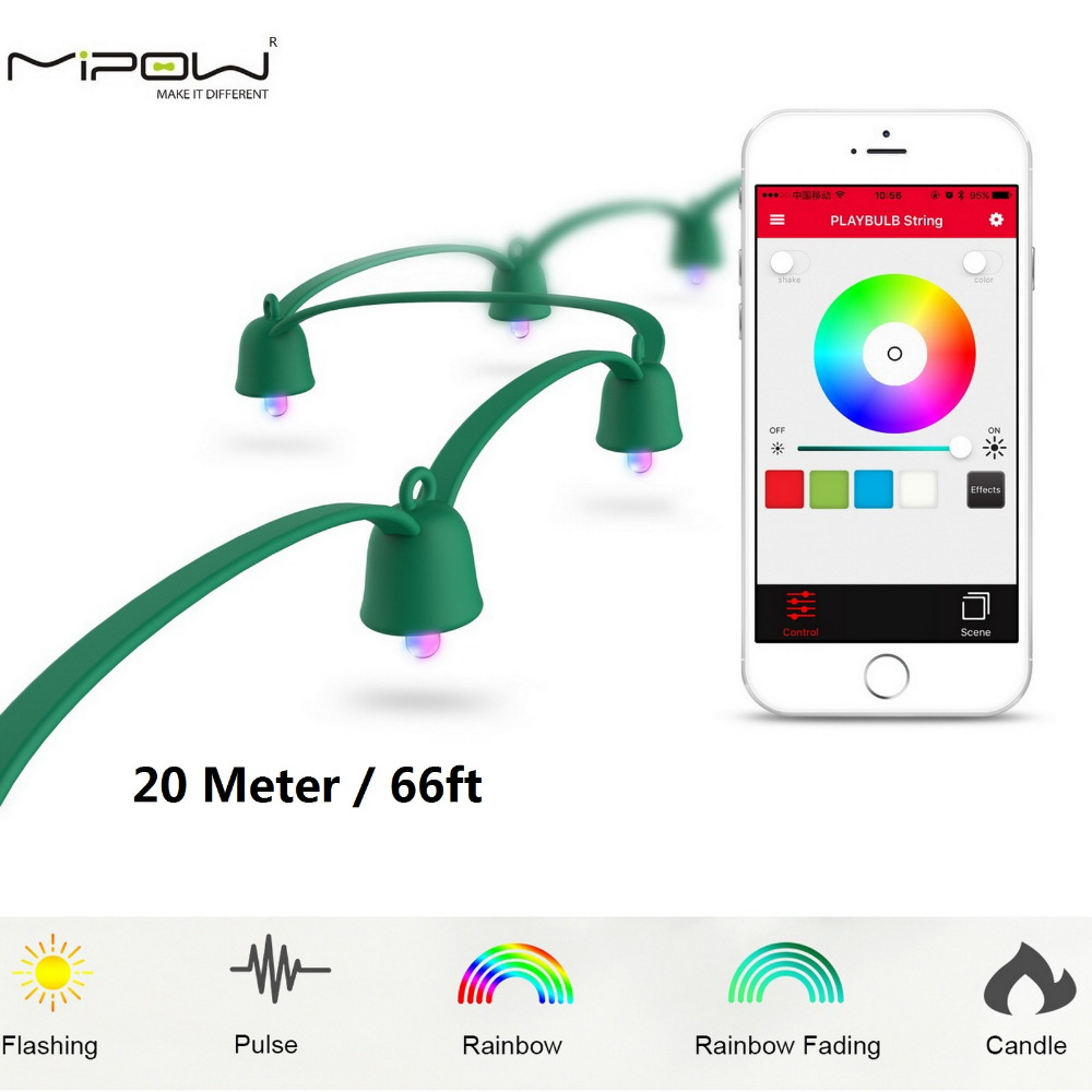 MIPOW PLAYBULB 20m Smart Christmas LED String Outdoor Xmas Decorations Party Lighting Colorful Lights Fairy Rope Light mipow playbulb sphere bluetooth intelligent led light with app control
