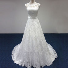 Cheap Price ! 2017 New Free Shipping cap sleeve lace sashes A Line White / Ivory Wedding Dresses FS087