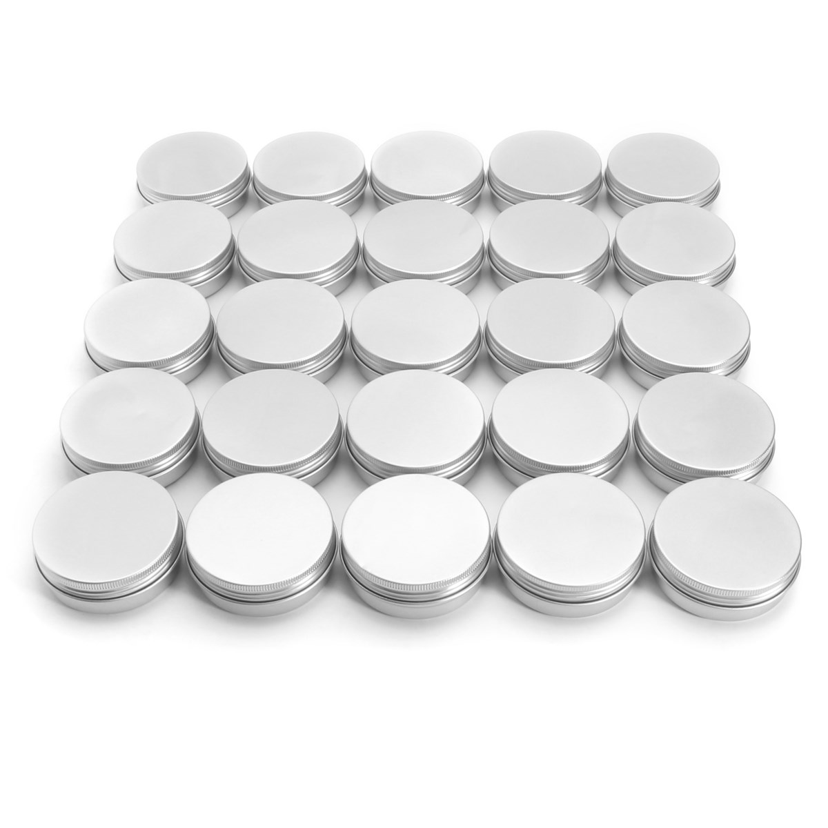 24pcs 60g Nail Gel Powder Makeup Tools Empty Aluminium Cosmetic Container Balm Silver Metal Jar Can Tin For Ointment Hand Cream survival kit tin higen lid small empty silver flip metal storage box case organizer for money coin candy keys