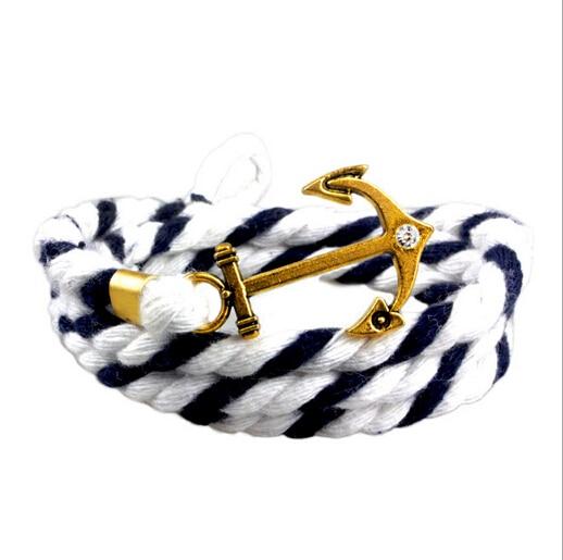 Bracciale uomo bracelets dancrage tom espoir marine bricolage tresse torsadée anciennes plaqué or noir
