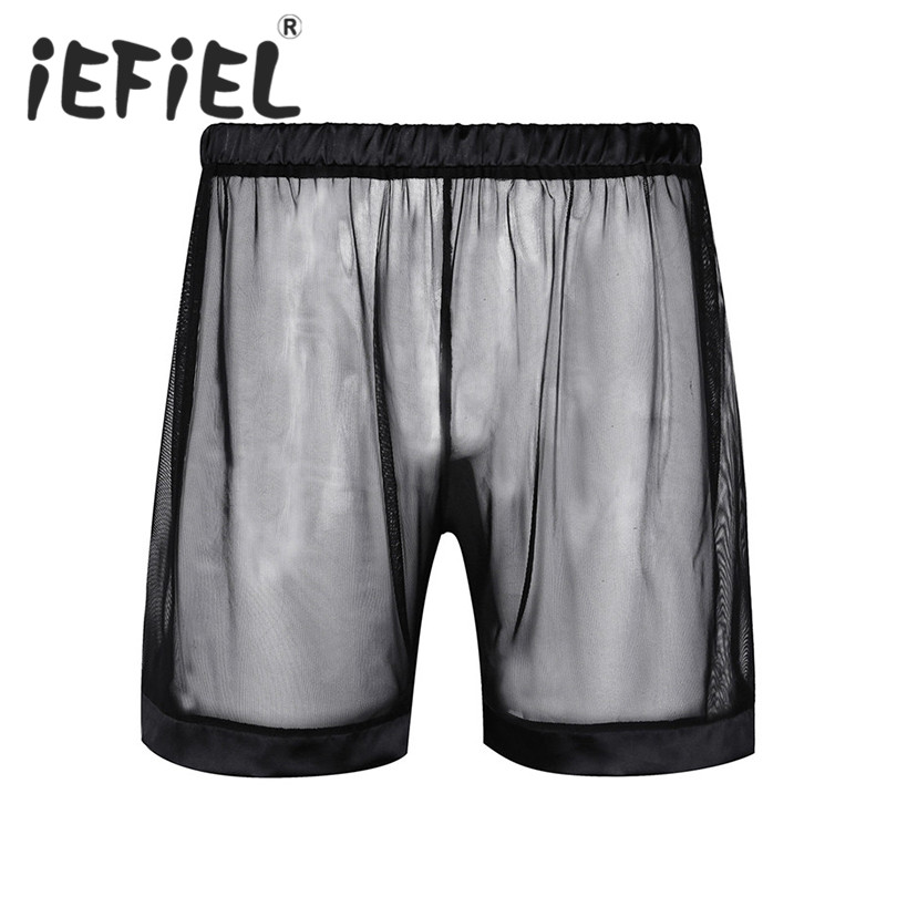 New Arrival Men Boxer Soft Breathable Underwear Mens Lingerie See-through Mesh Loose Lounge Boxer Shorts Underwear Nightwear
