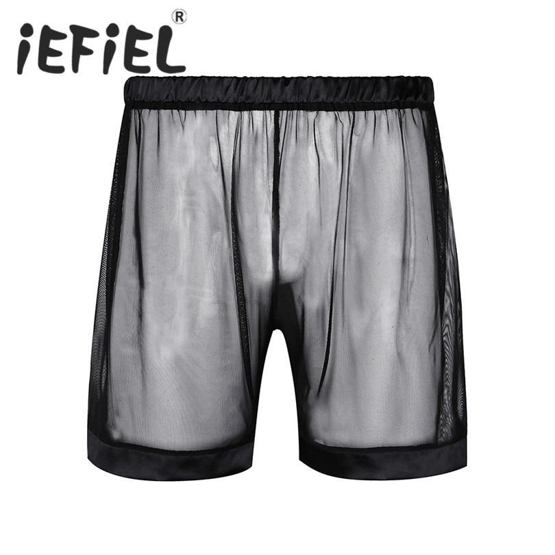 New Arrival Men Boxer Soft Breathable Underwear Mens Lingerie See-through Mesh Loose Lounge Boxer Shorts Underwear Nightwear