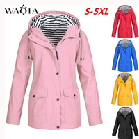 WAQIA Autumn Winter Women Snap Button Stripes Panel Hooded Jacket Coat Pocket Patched Drawstring Basic Outwear Jacket Yellow