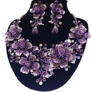 Image 3 - Zestawy biżuterii ślubnej dubaj złota biżuteria kobiety duży naszyjnik zestawy kobiety naszyjnik 24k złote zestawy biżuterii Rose naszyjnik kwiatowy