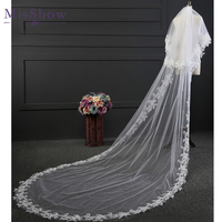 3 Meters Full Edge with Applique lace Two Layers Long Wedding Veil with Comb White Ivory Bridal Veil Wedding Accessories 2018