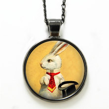 10PCS White Rabbit necklace Magician's Jewelry Bunny with Top Hat Magic Trick Art necklace Rabbit print glass necklace