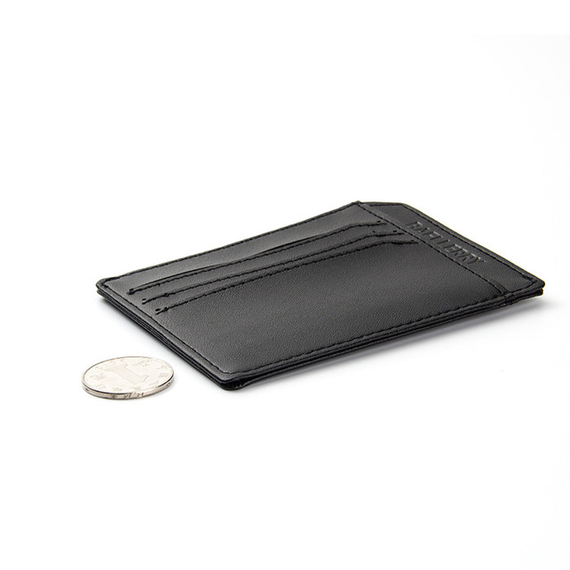 MENS SLIMLINE HIGH QUALITY FAUX LEATHER BLACK WALLET CREDIT CARD HOLDER PURSE