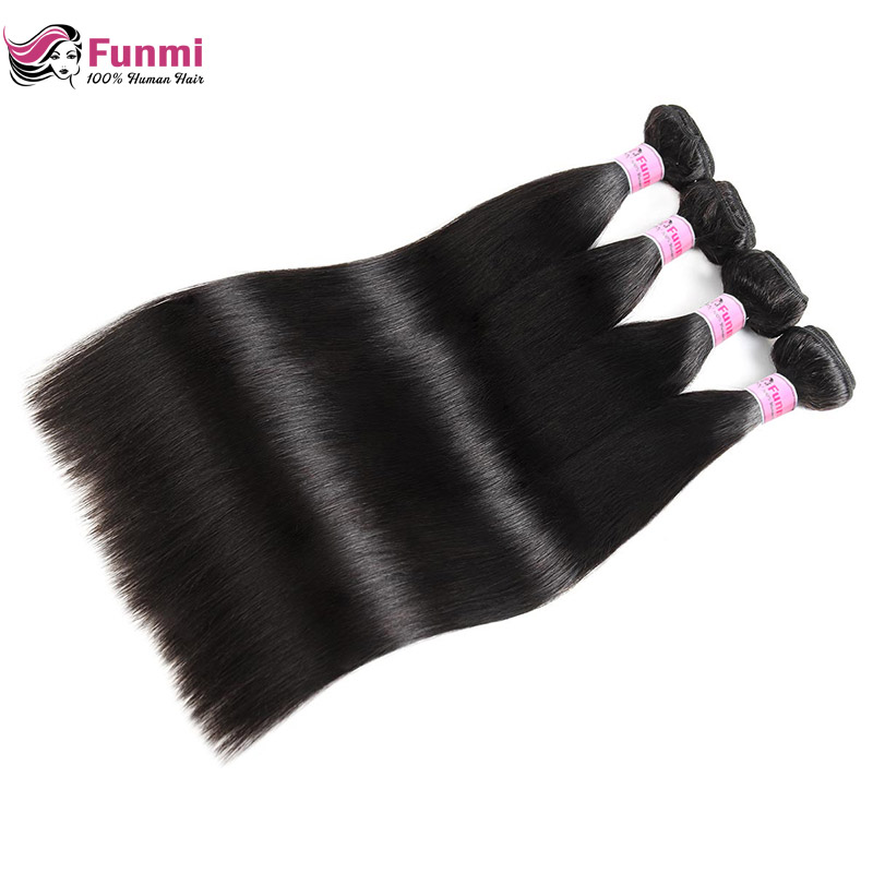 Raw Indian Straight Hair Bundles Unprocessed Indian Virgin Hair Bundles 100% Human Hair Extensions 1/3/4 Bundles Funmi Hair