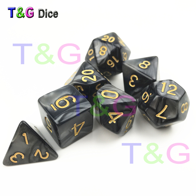 Dados De Rpg 7Pcs/Set Polyhedral RPG Games Dice with Marble Effect D4-D20 Multi Sides Dice Pop for Dnd Board Games top quality 126pcs polyhedral dice set dragons dices dnd rpg mtg table games dice activity multi sided games dices 18 set