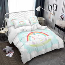 цена Baby Unicorn Bedding Set Kids Cartoon Print Bedding Cover King Queen Duvet Cover Set Pillowcase Quilt Cover Home Decor D35 в интернет-магазинах