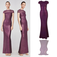 Top Quality Celebrity Purple Short Sleeve Long Rayon Bandage Dress Evening Party Dress