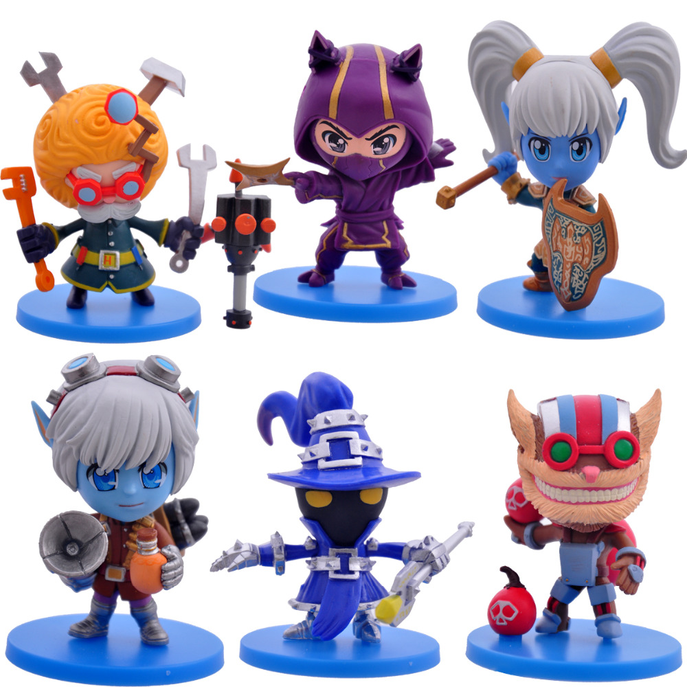 2016 NEW Hot Action Figure Toys 6pcs/set 8CM Heimerdinger Kennen Poppy Tristana Veigar Ziggs Cool Christmas gift doll цена 2017