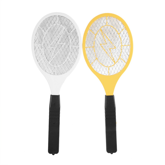 Electric Mosquito Swatter Plastic Hand Racket Electric Swatter Home Garden Fly Mosquito Killer Yellow/White