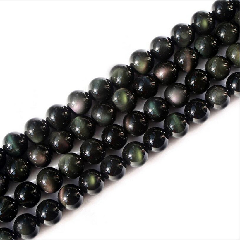 1Strand/lot Natural Genuine Flash Rainbow Obsidian Stone Round Loose Beads 4/5/6/8/10/12mm Pick Size for DIY Jewelry Making Z255