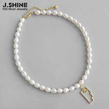 JShine Fashion Jewelry Necklace Chokers Freshwater Pearl 925 Sterling Silver Gold Abstract Face Pendant Necklaces Fine