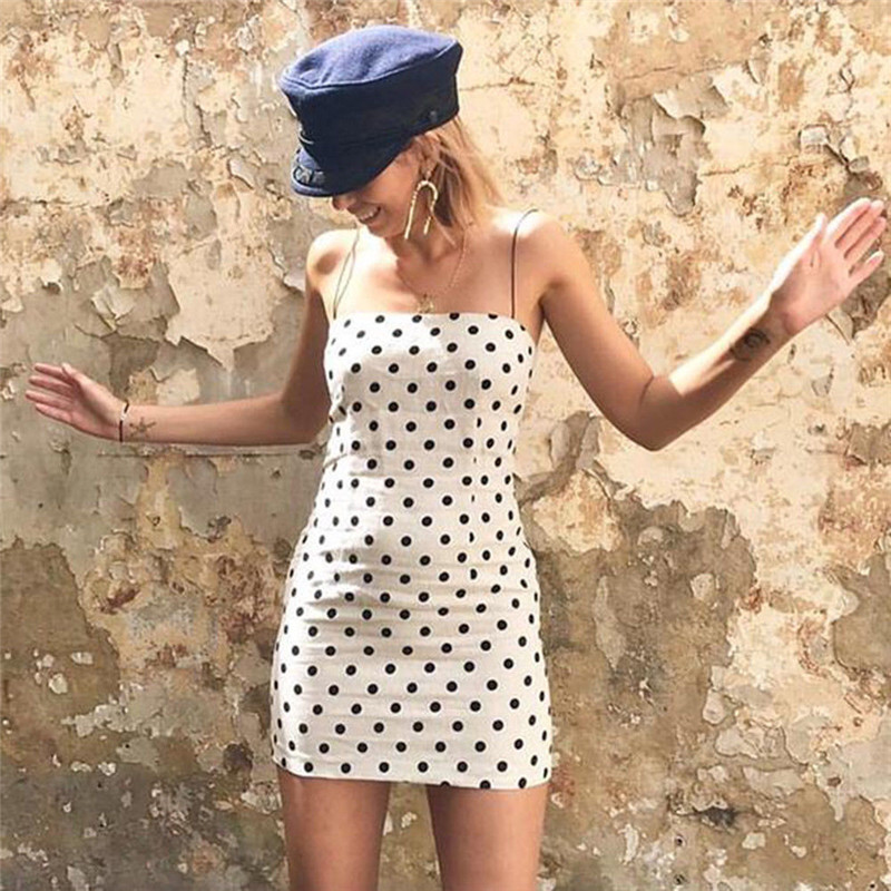 Polka Dot Bodycon sleeveless casual Party Mini Dresses one pieces Trendy Women dress off shoulder strap Polyester