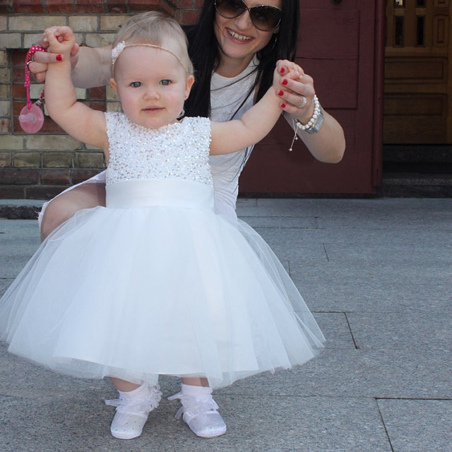 Whiteivory tulle ball gown baby girl dress with sparkly beaded whiteivory tulle ball gown baby girl dress with sparkly beaded flower girl dress for wedding infant 1st birthday party outfits in dresses from mother mightylinksfo