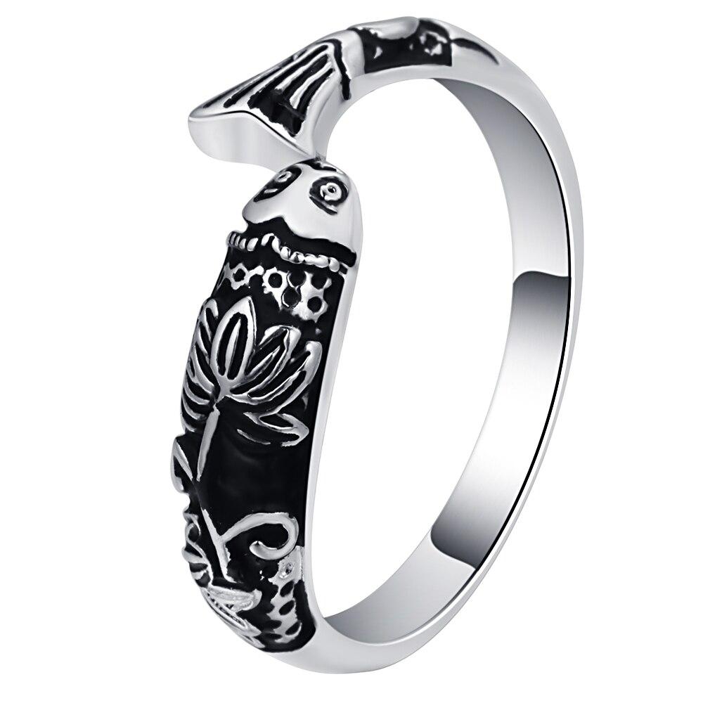 Ufooro Chinese Tang Dynasty Carp Ring Auspicious Ancient Silver